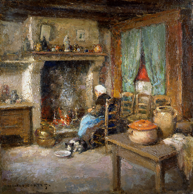 Bretonne assise face a la cheminee rehs galleries inc - Cheminee bretonne ancienne ...