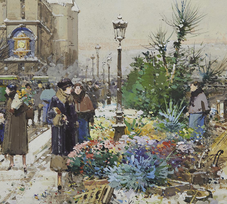 Le marche aux fleurs quai de l'Horloge, Hiver