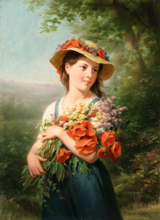 Jeune fille au bouquet de fleurs des champs - Idee bouquet de fleur ...