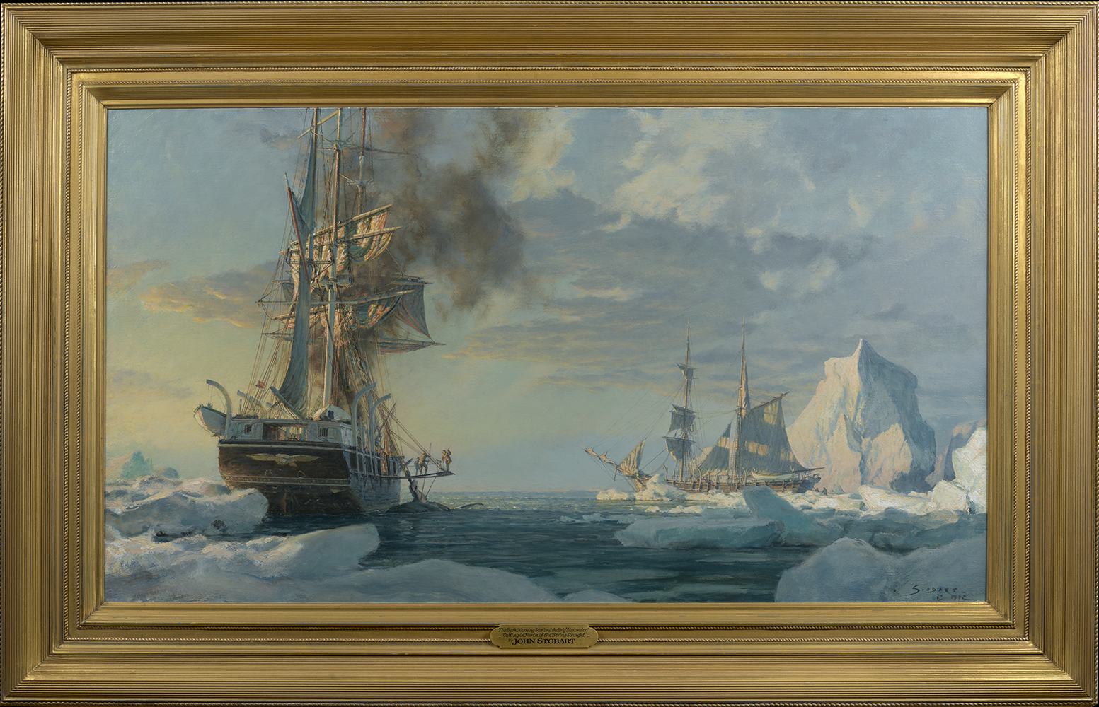 john_stobart_js1026_the_bark_morning_star_and_the_brig_alexander_cutting_in_north_of_the_bering_strait_1972_framed.jpg